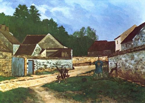 Деревенская улица в Марлоте. 1866г. 50x92cm
