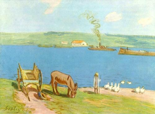 Речной берег. 1890г. 28.5x40cm