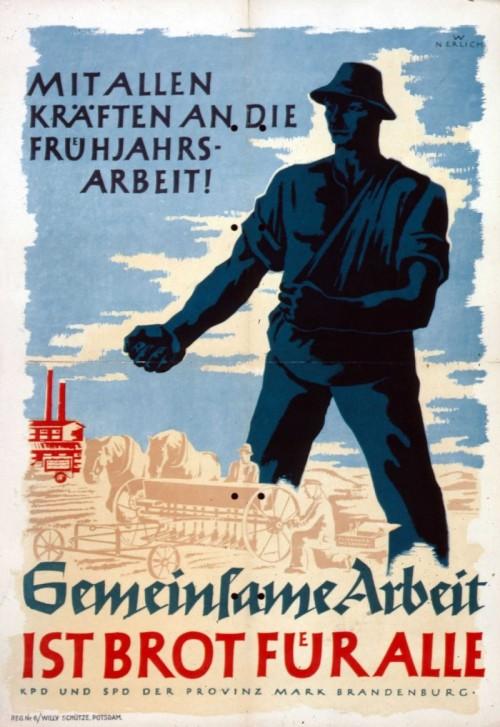 Всами силами на весенние работы. Совместная рабочая сила - хлеб для всех. 1946 г.