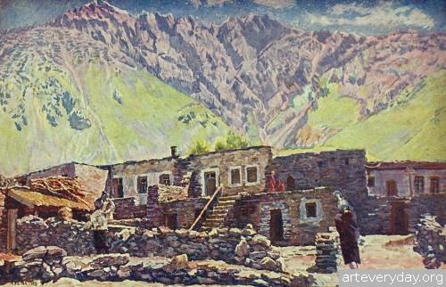 Грузия. Казбек. Шат-гора и аул. 1920-е.